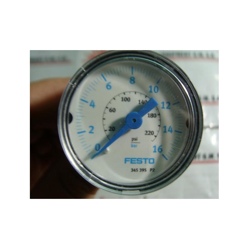 FESTO ELECTRIC 345395 PRESSURE GAUGE 0-220PSI - MotionSurplus